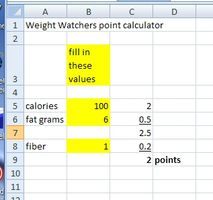 Comment faire une calculatrice Weight Watchers Points avec Excel